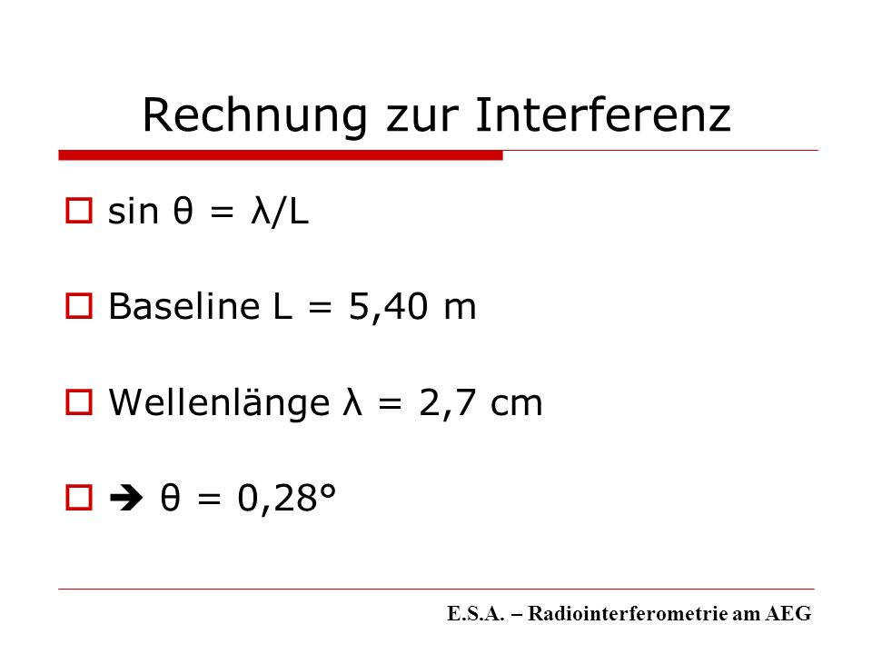 Rechnung zur Interferenz