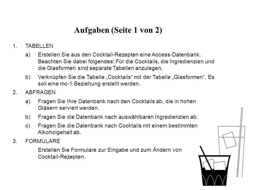 Aufgaben (Seite 1 von 2) TABELLEN