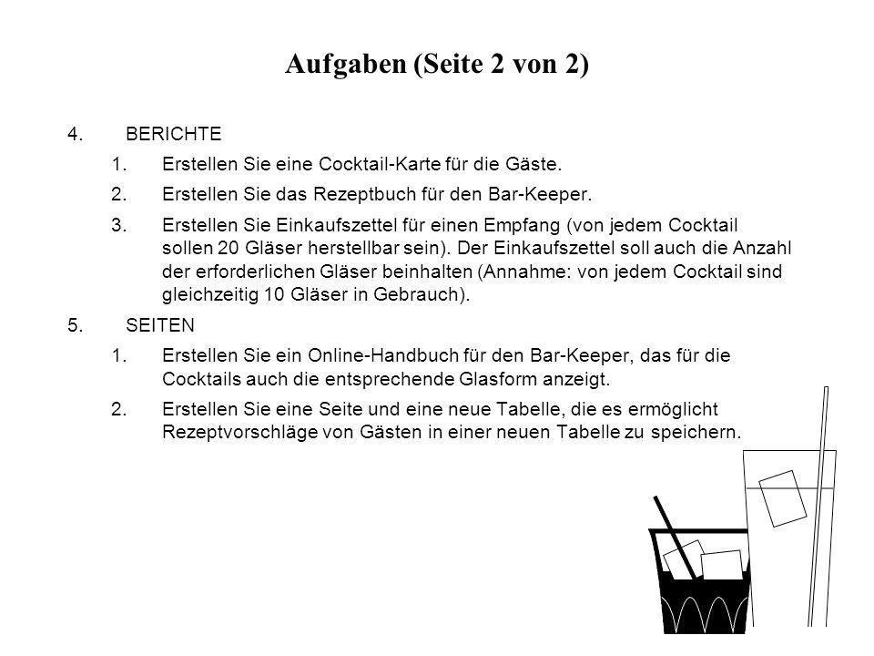Aufgaben (Seite 2 von 2) BERICHTE