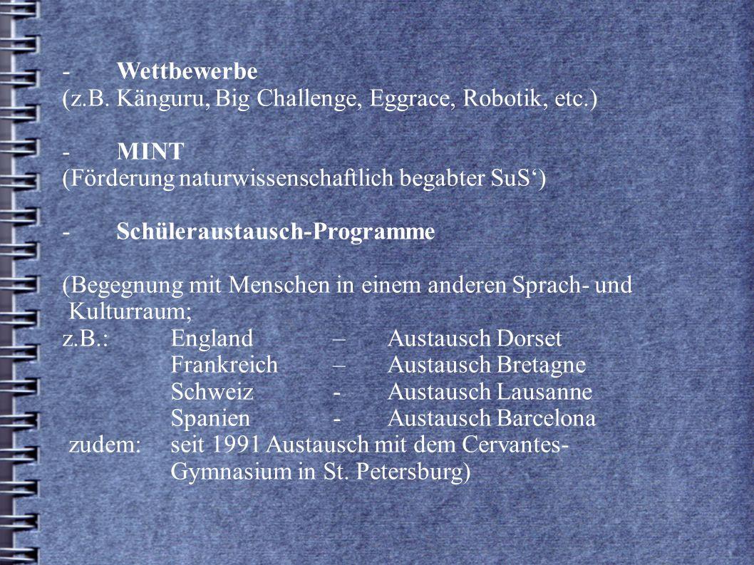 -. Wettbewerbe. (z. B. Känguru, Big Challenge, Eggrace, Robotik, etc