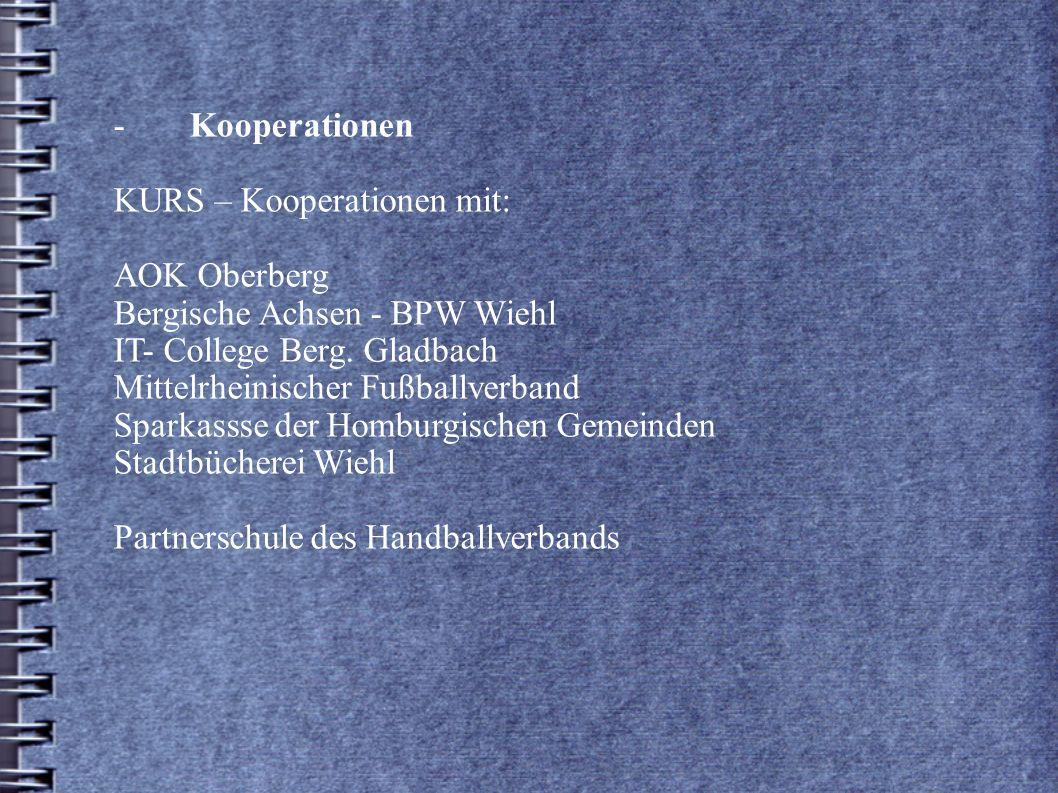 -. Kooperationen. KURS – Kooperationen mit:. AOK Oberberg