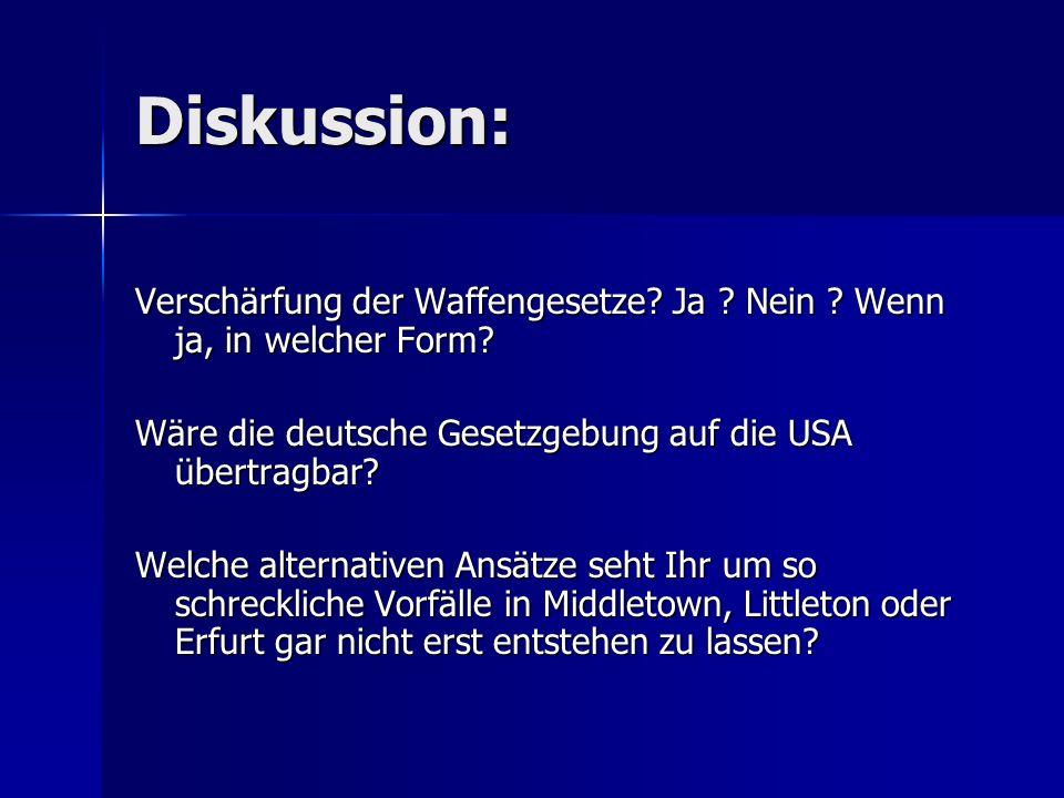 Diskussion: Verschärfung der Waffengesetze Ja Nein Wenn ja, in welcher Form Wäre die deutsche Gesetzgebung auf die USA übertragbar