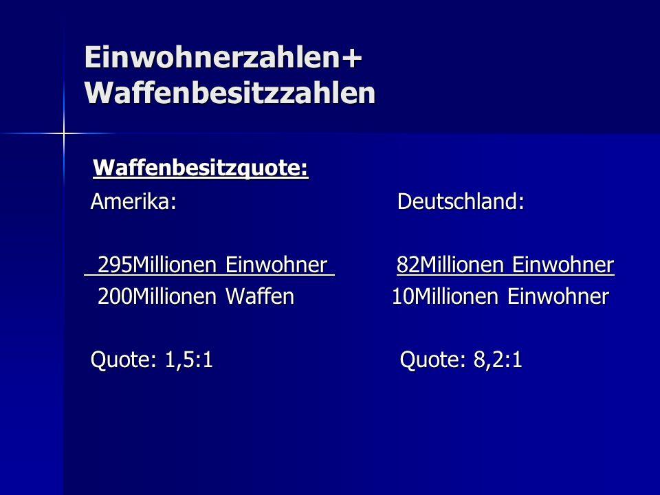 Einwohnerzahlen+ Waffenbesitzzahlen