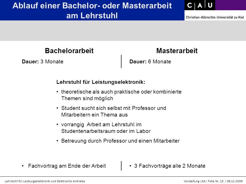 Ablauf einer Bachelor- oder Masterarbeit am Lehrstuhl