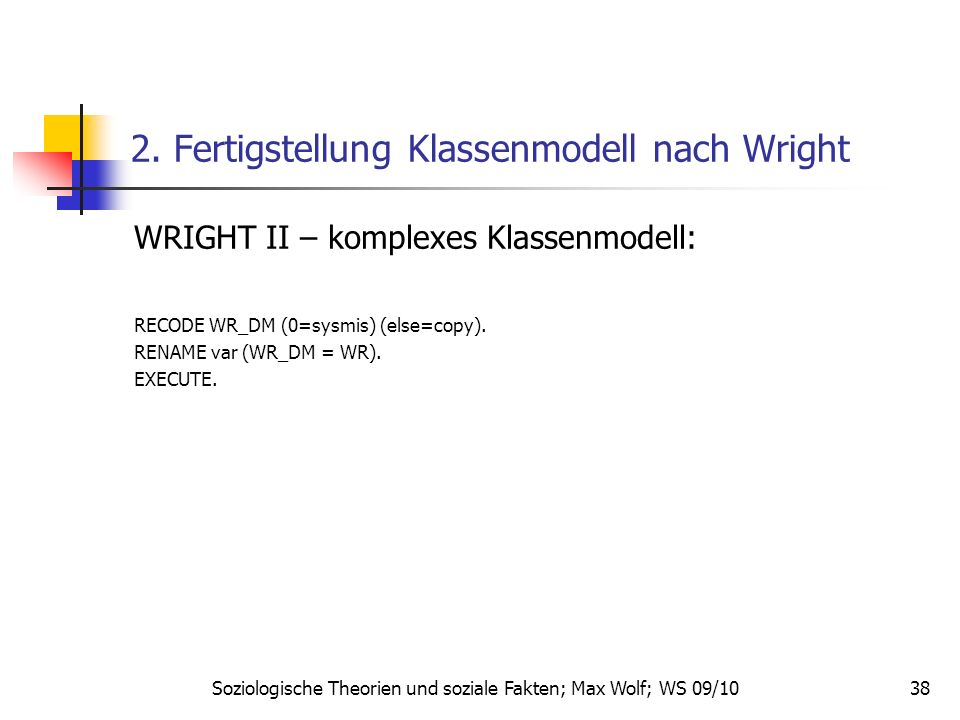 2. Fertigstellung Klassenmodell nach Wright