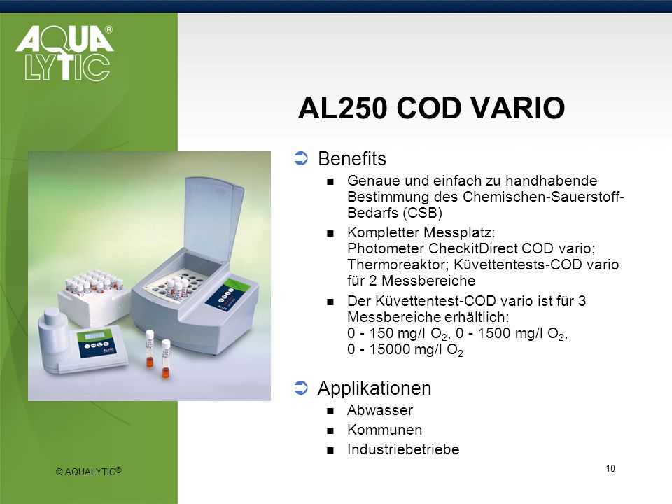 AL250 COD VARIO Benefits Applikationen