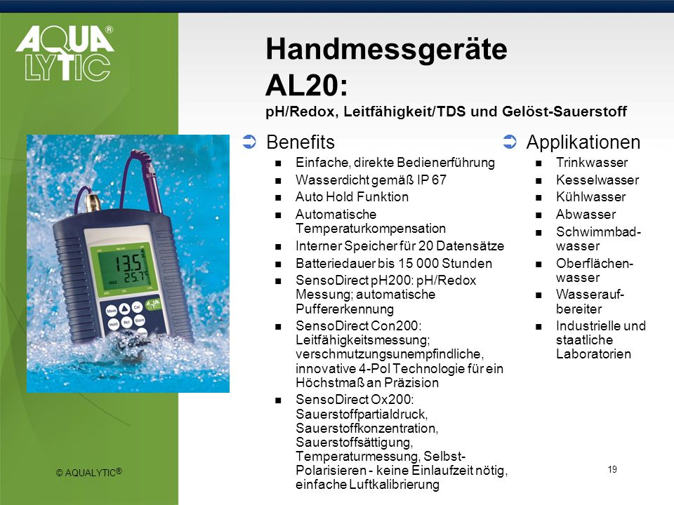 Handmessgeräte AL20: pH/Redox, Leitfähigkeit/TDS und Gelöst-Sauerstoff