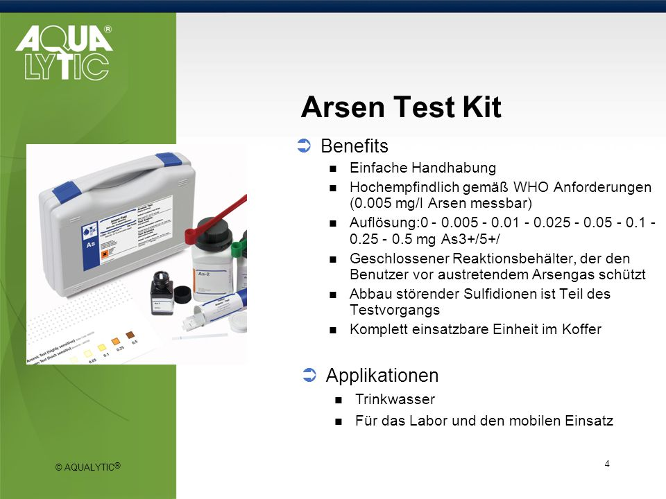 Arsen Test Kit Benefits Applikationen Einfache Handhabung