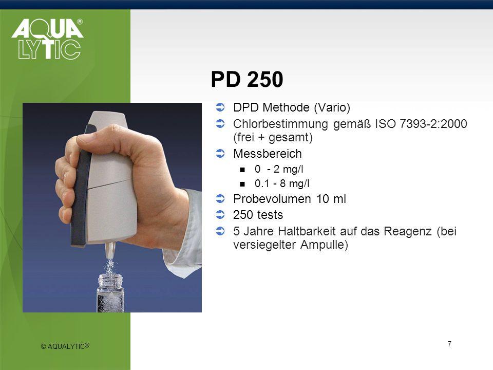 PD 250 DPD Methode (Vario) Chlorbestimmung gemäß ISO 7393-2:2000 (frei + gesamt) Messbereich. 0 - 2 mg/l.