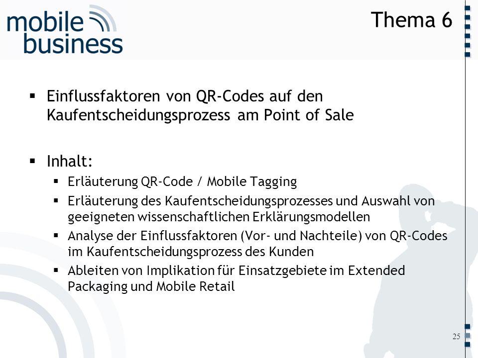 Thema 6Einflussfaktoren von QR-Codes auf den Kaufentscheidungsprozess am Point of Sale. Inhalt: Erläuterung QR-Code / Mobile Tagging.