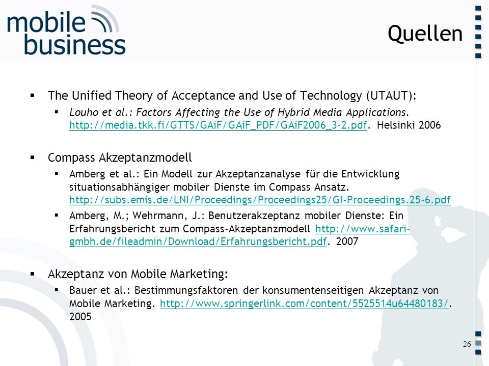 Quellen The Unified Theory of Acceptance and Use of Technology (UTAUT):