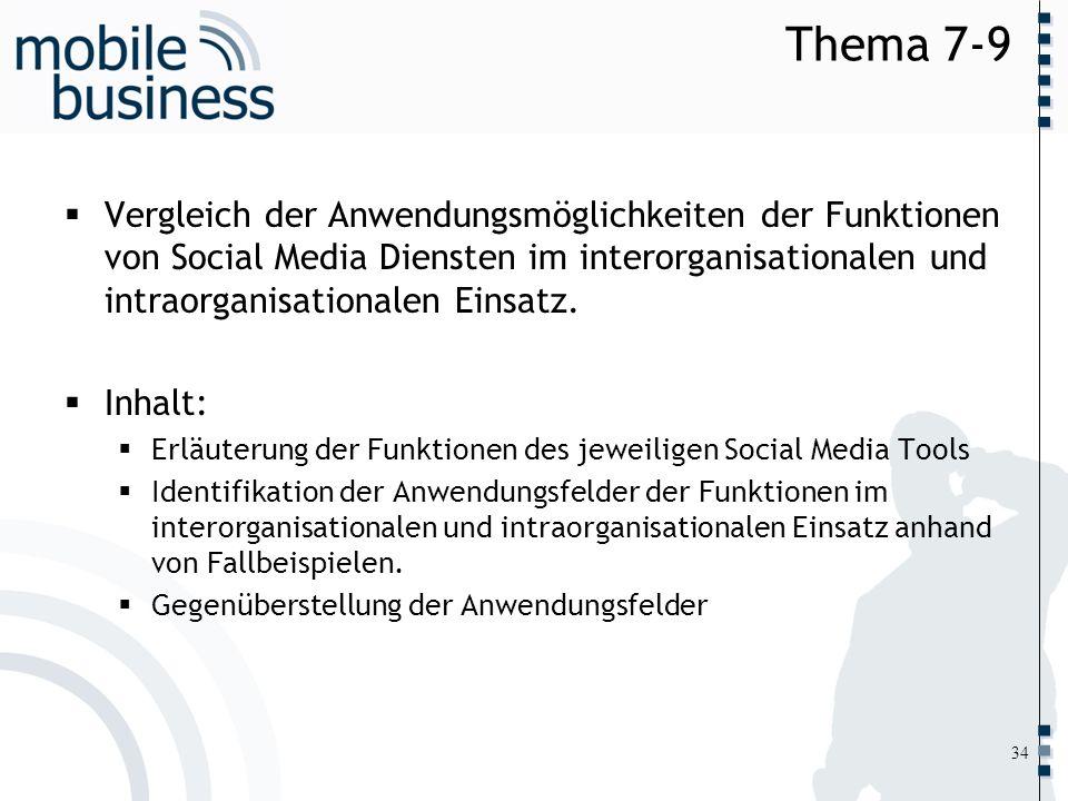 Thema 7-9Vergleich der Anwendungsmöglichkeiten der Funktionen von Social Media Diensten im interorganisationalen und intraorganisationalen Einsatz.