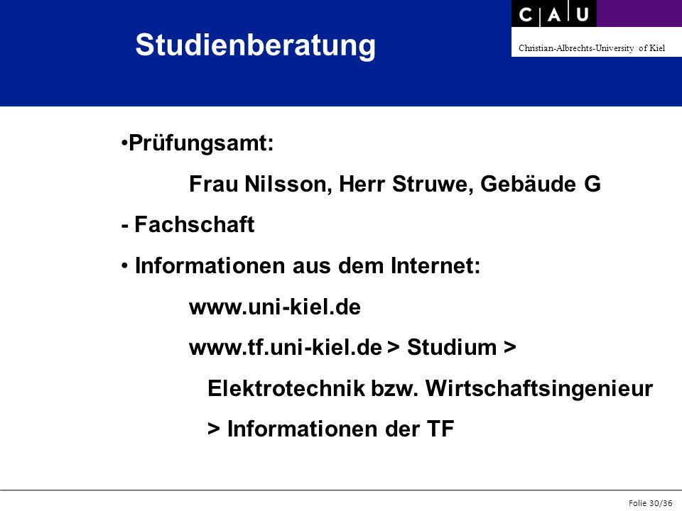 Studienberatung Prüfungsamt: Frau Nilsson, Herr Struwe, Gebäude G