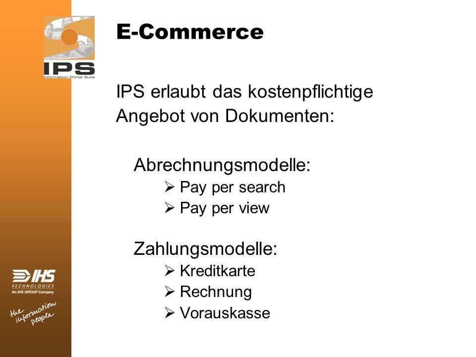 E-Commerce IPS erlaubt das kostenpflichtige Angebot von Dokumenten: