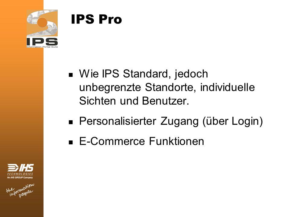IPS Pro Wie IPS Standard, jedoch unbegrenzte Standorte, individuelle Sichten und Benutzer. Personalisierter Zugang (über Login)
