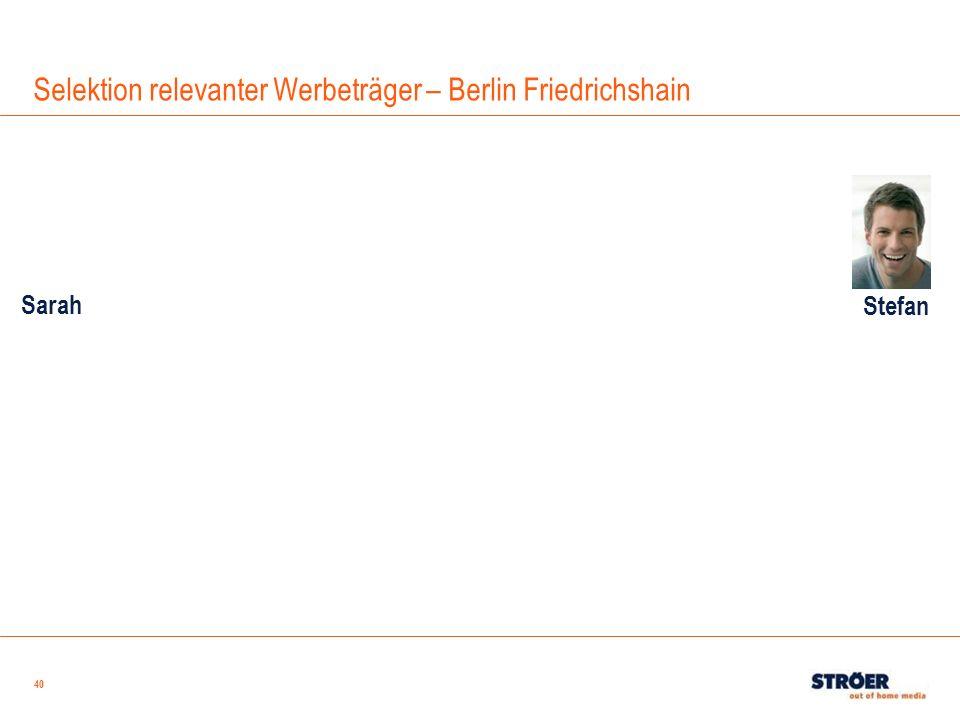 Selektion relevanter Werbeträger – Berlin Friedrichshain