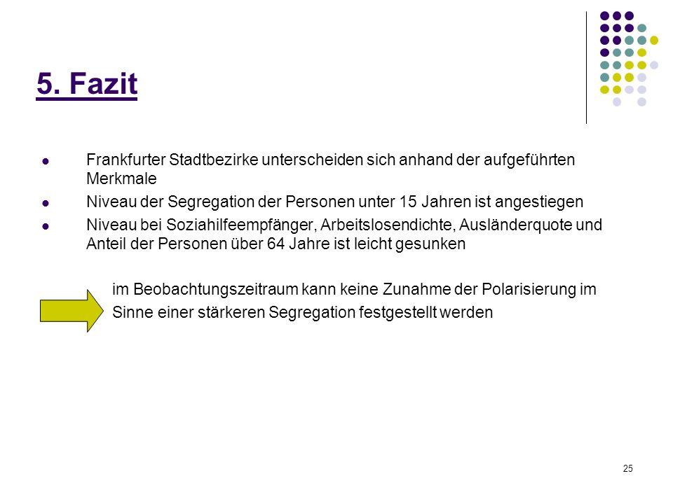5. FazitFrankfurter Stadtbezirke unterscheiden sich anhand der aufgeführten Merkmale.