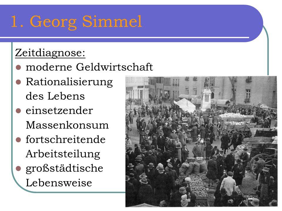 1. Georg Simmel Zeitdiagnose: moderne Geldwirtschaft Rationalisierung