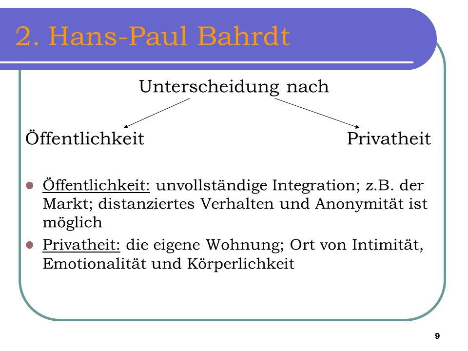 2. Hans-Paul Bahrdt Unterscheidung nach Öffentlichkeit Privatheit