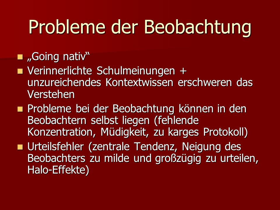Probleme der Beobachtung