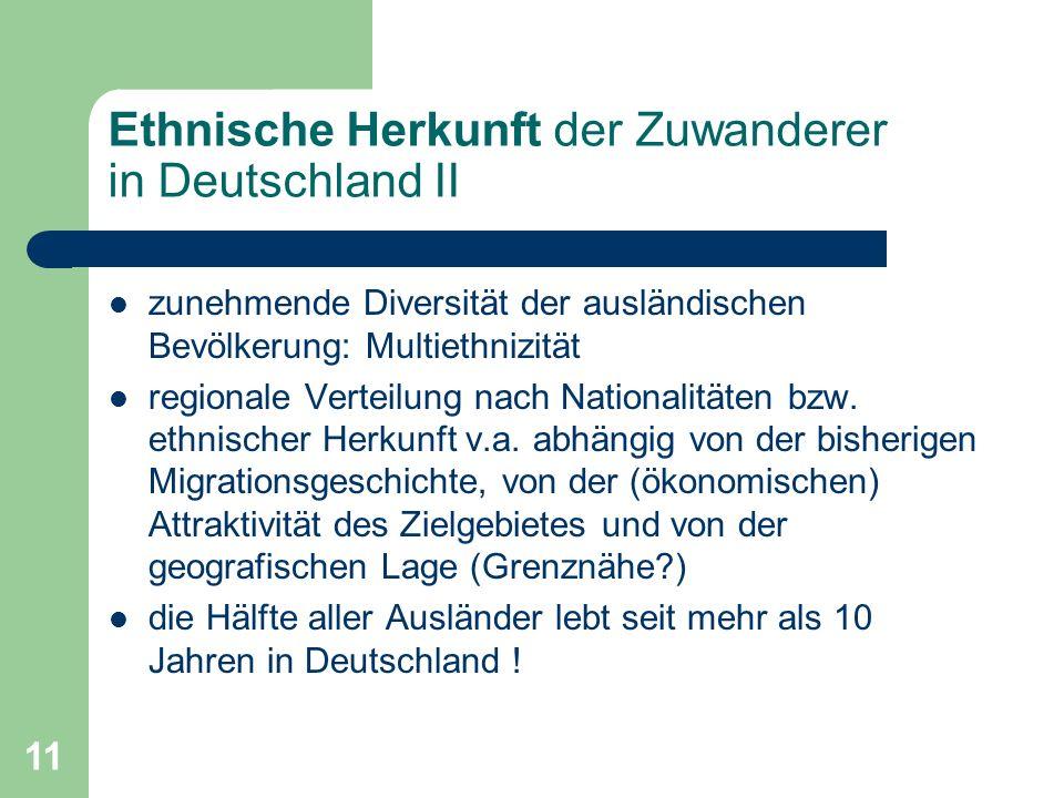 Ethnische Herkunft der Zuwanderer in Deutschland II