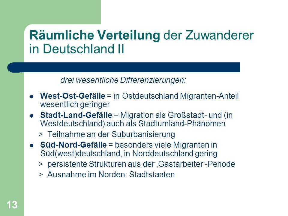 Räumliche Verteilung der Zuwanderer in Deutschland II