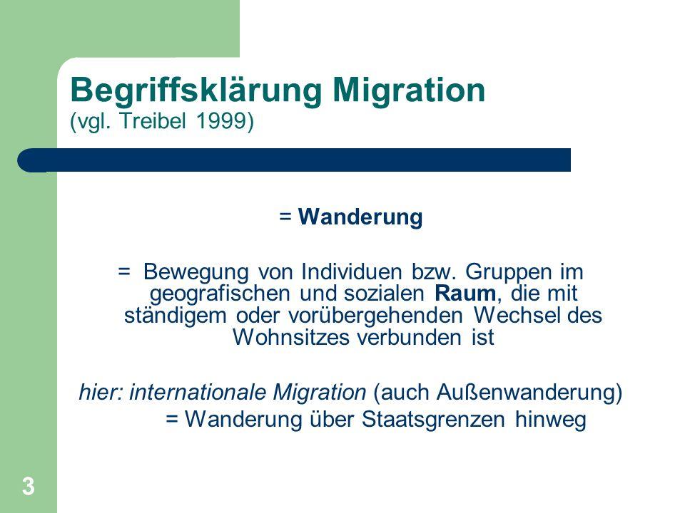 Begriffsklärung Migration (vgl. Treibel 1999)