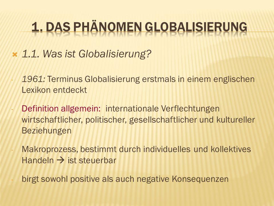 1. Das Phänomen Globalisierung