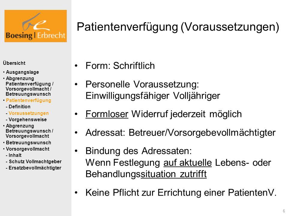 Patientenverfügung (Voraussetzungen)