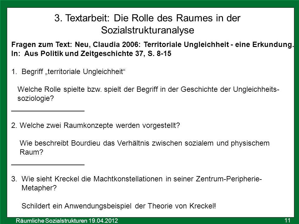 3. Textarbeit: Die Rolle des Raumes in der Sozialstrukturanalyse