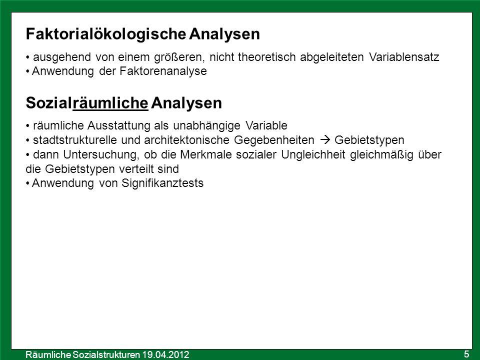 Faktorialökologische Analysen