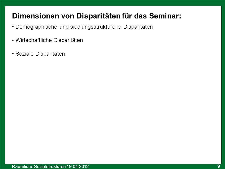 Dimensionen von Disparitäten für das Seminar: