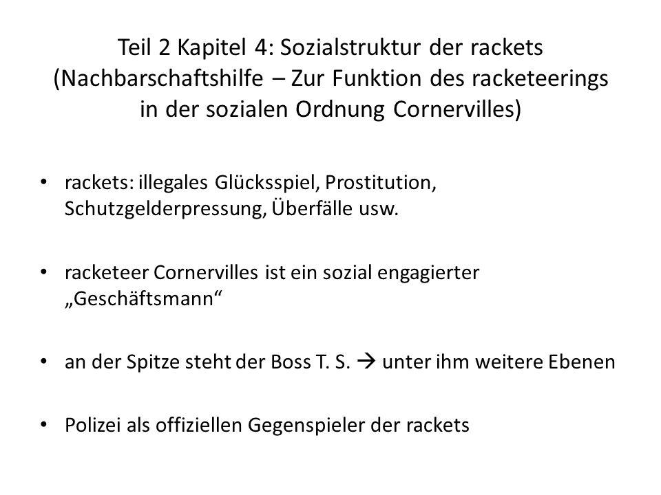 Teil 2 Kapitel 4: Sozialstruktur der rackets (Nachbarschaftshilfe – Zur Funktion des racketeerings in der sozialen Ordnung Cornervilles)