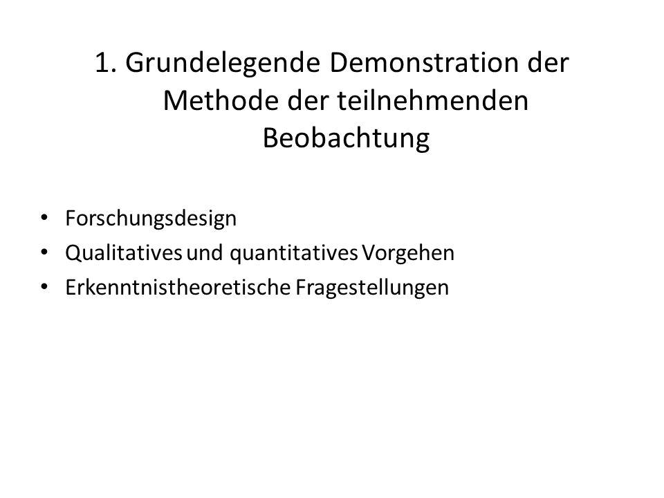 1. Grundelegende Demonstration der Methode der teilnehmenden Beobachtung