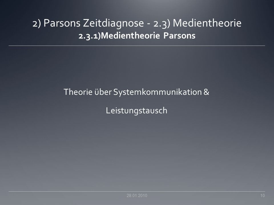 Theorie über Systemkommunikation & Leistungstausch