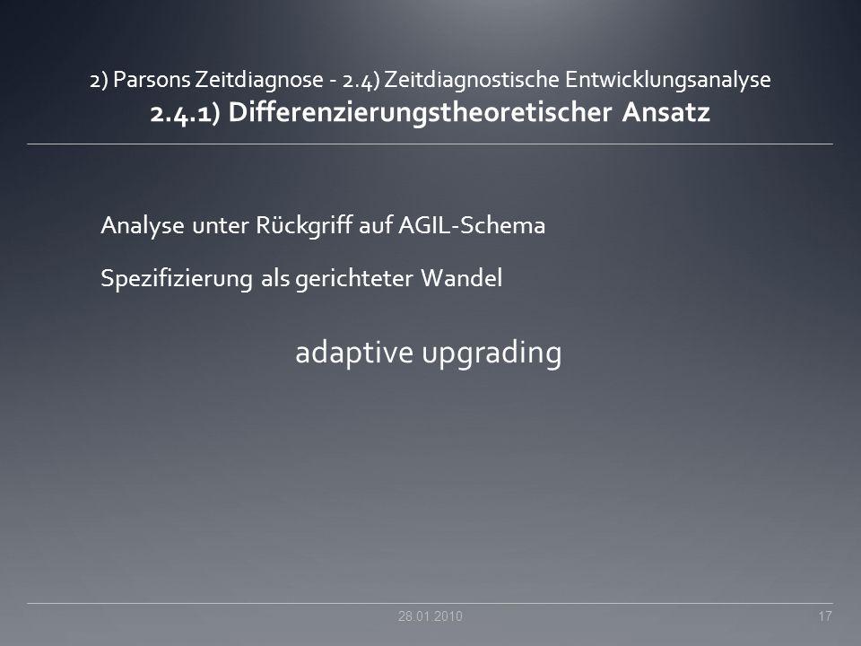 adaptive upgrading Analyse unter Rückgriff auf AGIL-Schema