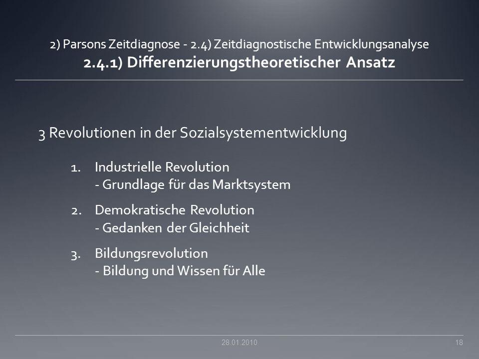 3 Revolutionen in der Sozialsystementwicklung