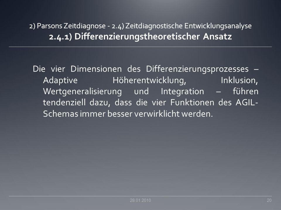 2) Parsons Zeitdiagnose - 2.4) Zeitdiagnostische Entwicklungsanalyse 2.4.1) Differenzierungstheoretischer Ansatz