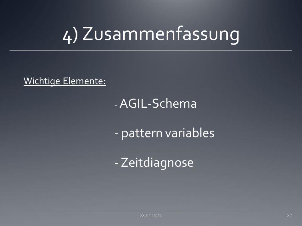 4) Zusammenfassung - pattern variables - Zeitdiagnose
