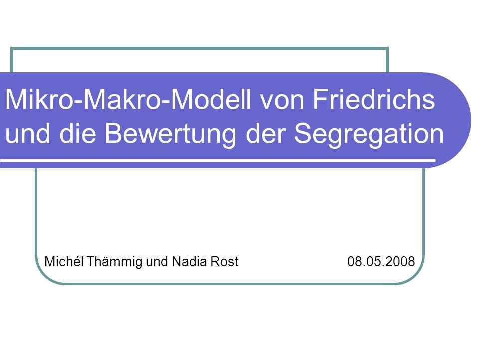Mikro-Makro-Modell von Friedrichs und die Bewertung der Segregation