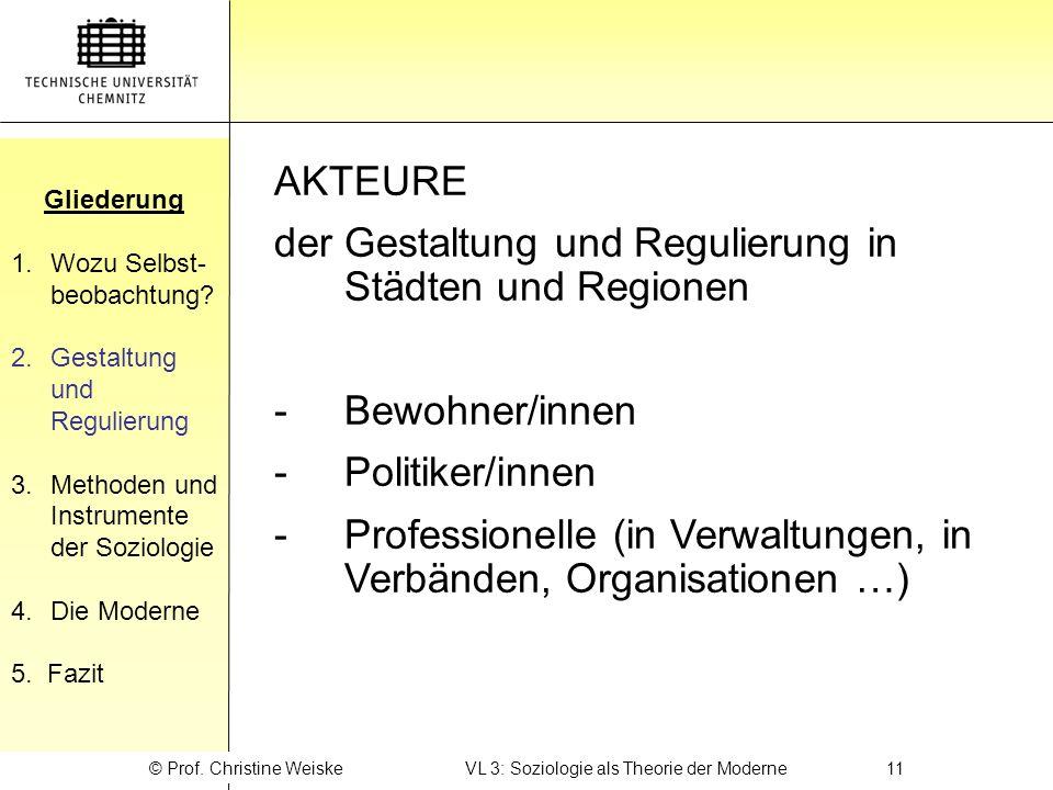 © Prof. Christine Weiske VL 3: Soziologie als Theorie der Moderne 11