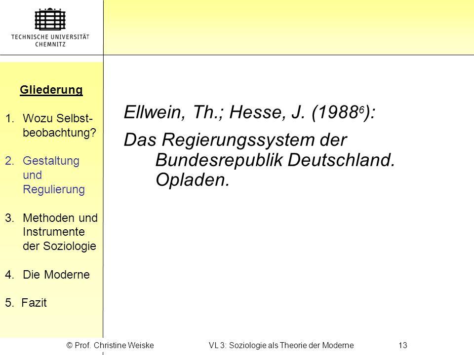 © Prof. Christine Weiske VL 3: Soziologie als Theorie der Moderne 13