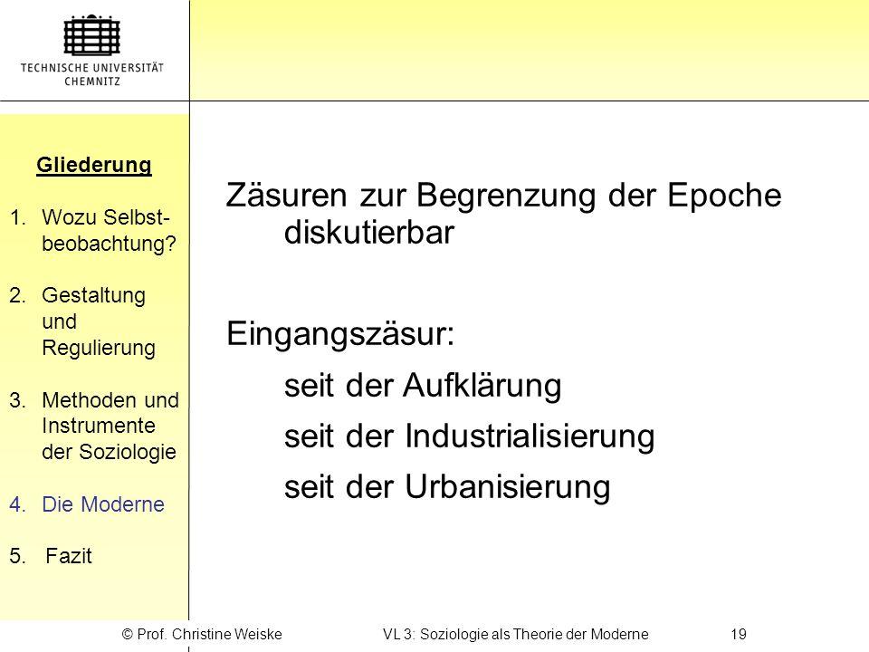 © Prof. Christine Weiske VL 3: Soziologie als Theorie der Moderne 19