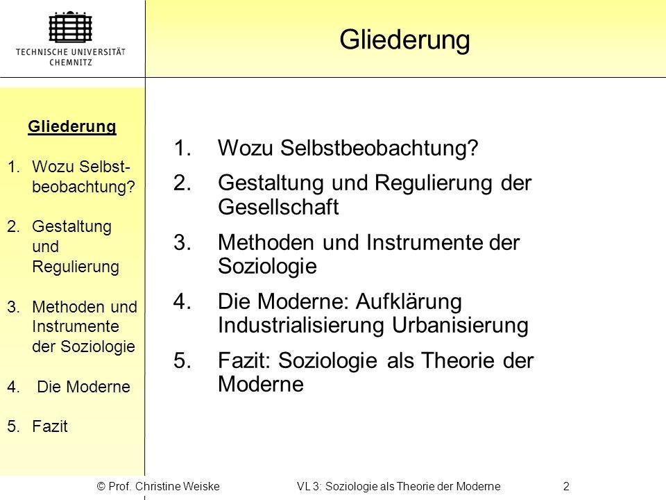 © Prof. Christine Weiske VL 3: Soziologie als Theorie der Moderne 2