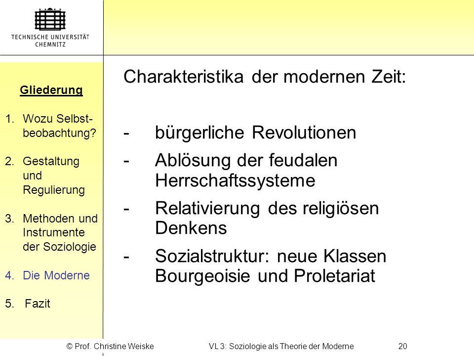 © Prof. Christine Weiske VL 3: Soziologie als Theorie der Moderne 20