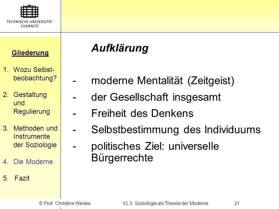 © Prof. Christine Weiske VL 3: Soziologie als Theorie der Moderne 21