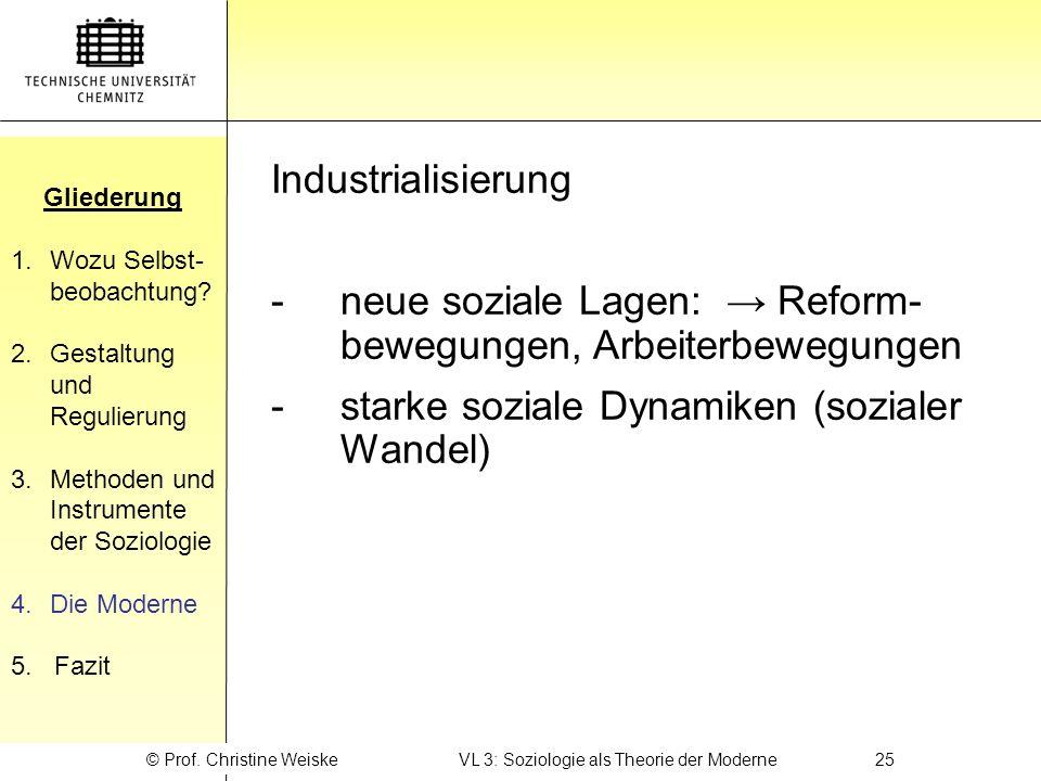© Prof. Christine Weiske VL 3: Soziologie als Theorie der Moderne 25