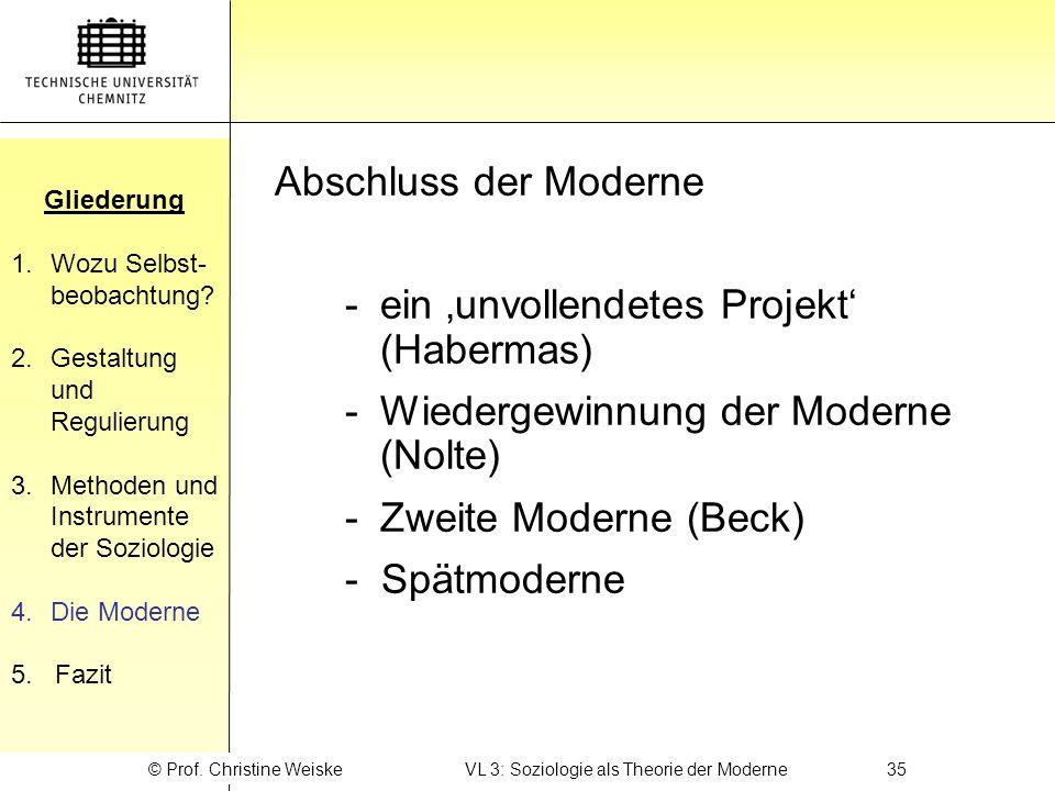 © Prof. Christine Weiske VL 3: Soziologie als Theorie der Moderne 35