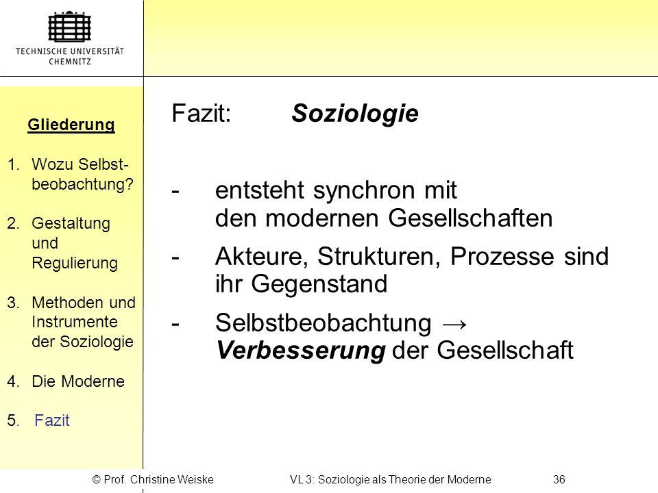 © Prof. Christine Weiske VL 3: Soziologie als Theorie der Moderne 36