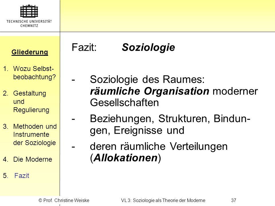 © Prof. Christine Weiske VL 3: Soziologie als Theorie der Moderne 37